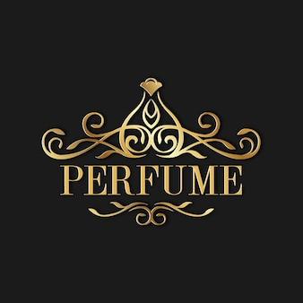 Logo de perfume de lujo con diseño dorado