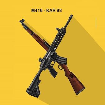 Logo de una pistola karabiner 98k rifle de francotirador y m416 rifle de asalto