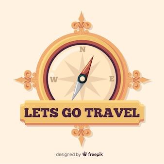 Logo plano vintage de viaje