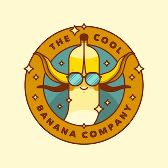 Logo de plátano con gafas