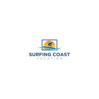 Logo de playa de surf