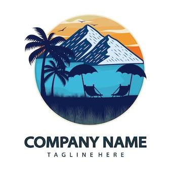 Logo de playa de verano