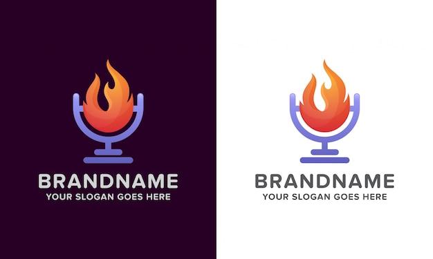 Logo de podcast de fuego