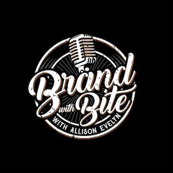 Logo de podcast vintage