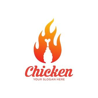 Logo de pollo frito caliente