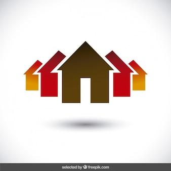 Logo de propiedad con siluetas de casas