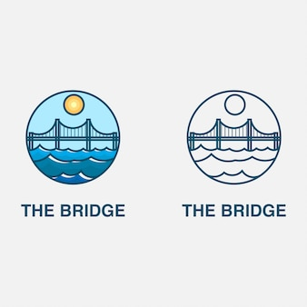 Logo con puente y mar