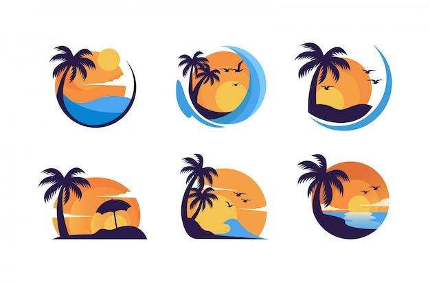 Logo de puesta de sol minimalista simple