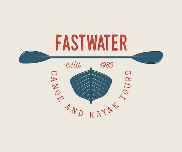 Logo de rafting o barco