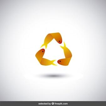 Logo realizado con peces de color naranja