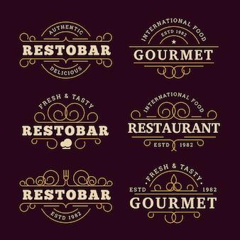 Logo de restaurante con diseño dorado