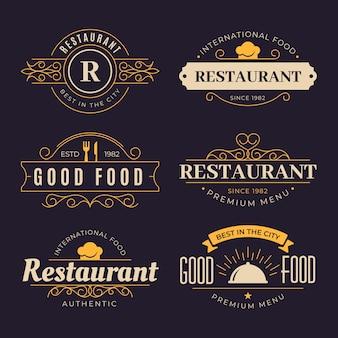 Logo de restaurante retro con diseño dorado