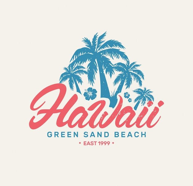 Logo retro de hawaii