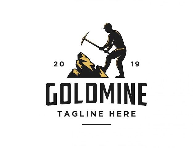 Logo retro vintage trabajador de mina de oro