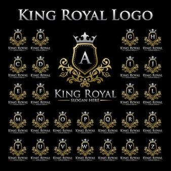 Logo de rey real con conjunto de alfabeto