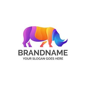 Logo de rinoceronte colorido