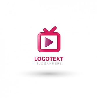 Logo rosa con forma de televisor
