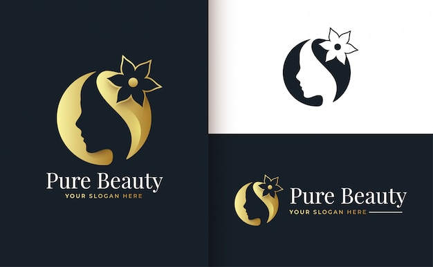 Logo de salón de belleza de flores y tratamiento capilar