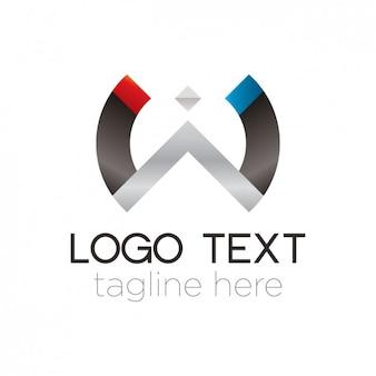 Logo de semicírculo abstracto de metal