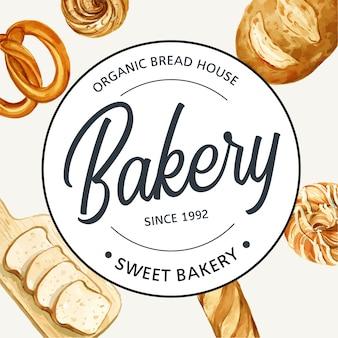 Logo símbolo panadería plantilla.