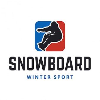 Logo de snowboard deporte de invierno