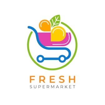 Logo de supermercado con carrito de compras