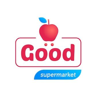 Logo de supermercado con manzana