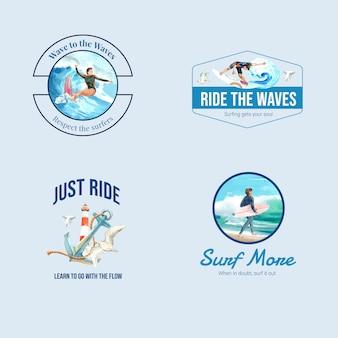 Logo con tablas de surf en la playa