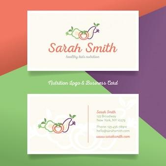 Logo y tarjeta de visita de nutrición