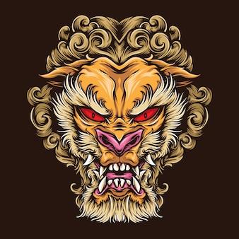 Logo de tatuaje de león japonés