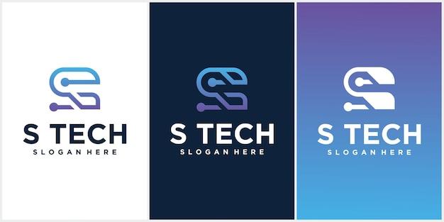 Logo technology letter initial s diseño de logotipo con combinación de colores
