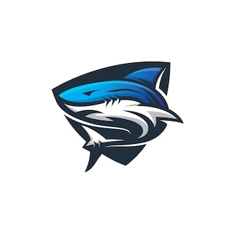 Logo tiburón plantilla deporte moderno