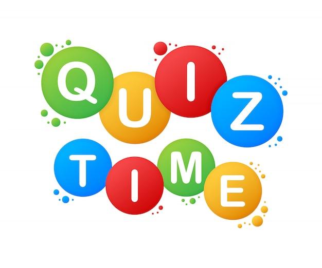 Logo de tiempo de prueba con símbolos de burbujas de discurso, concepto de cuestionario muestra cantar, botón de tiempo de prueba, competencia de preguntas