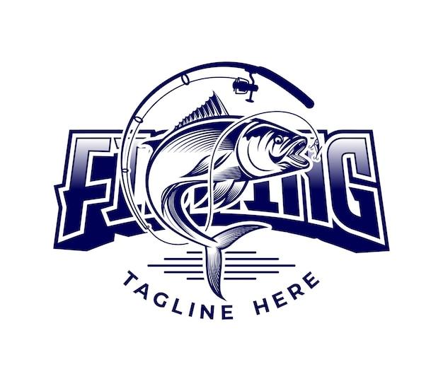 Logo de vector de ilustración de pesca de lujo