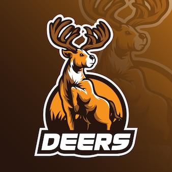 Logo de vector de mascota de ciervos