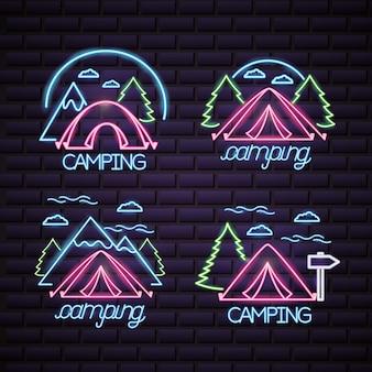 Logo de viaje de camping en estilo neón