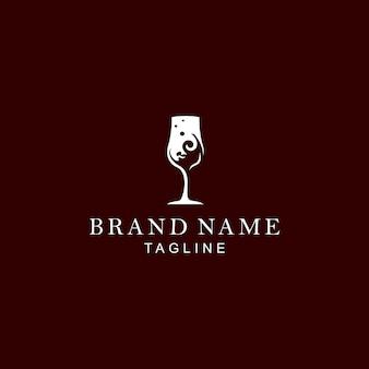 Logo de vino de vidrio