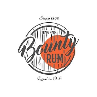 Logo vintage con barril de ron y texto