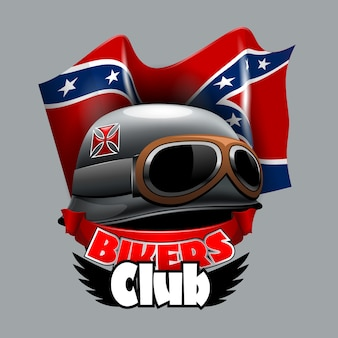 Logo vintage bikers club con bandera estadounidense confiderate.