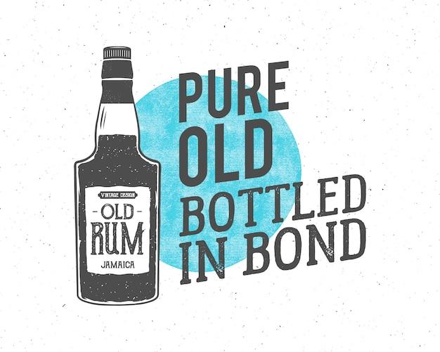 Logo vintage con botella de ron y texto