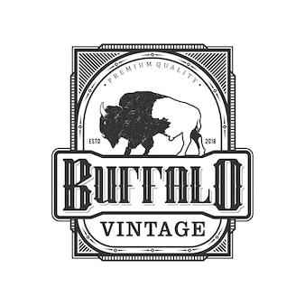 Logo vintage de búfalo