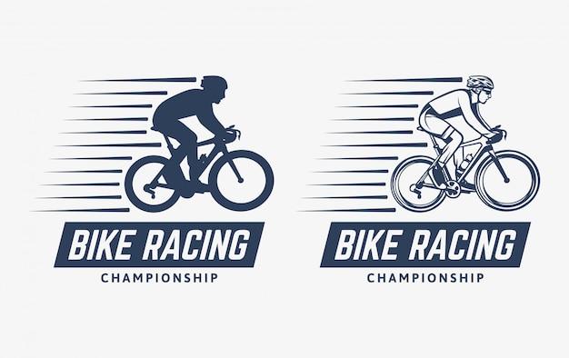 Logo vintage de campeonato de carreras de bicicletas