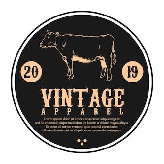 Logo vintage caw y texto vector