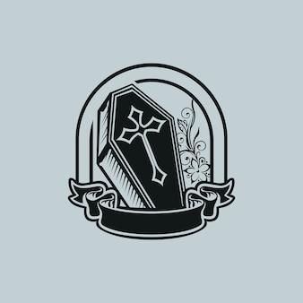 Logo vintage coffin tattoo una mascota de la camiseta