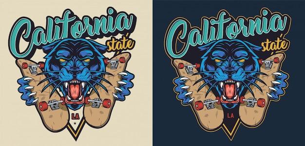 Logo vintage colorido skateboarding