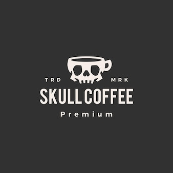 Logo vintage de cráneo café hipster