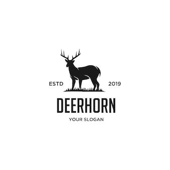 Logo vintage de cuerno de ciervo