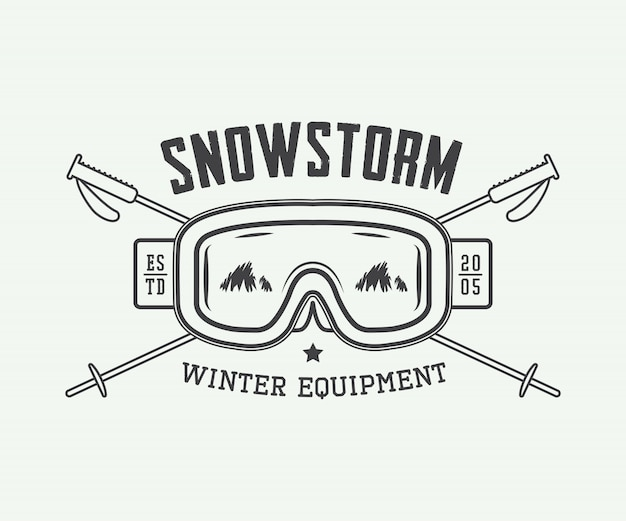 Logo vintage de deportes de invierno