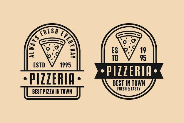 Logo vintage de diseño de pizzería