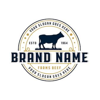 Logo vintage de granja de carne